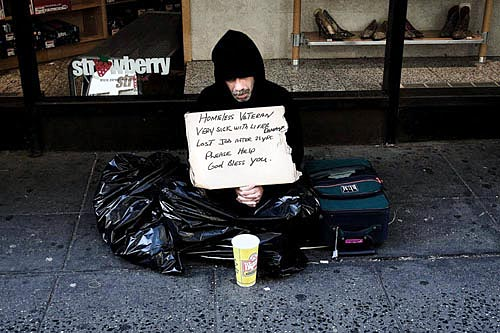 Homeless veteran in NYC