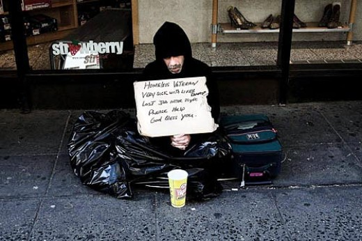 Homeless veteran in NYC