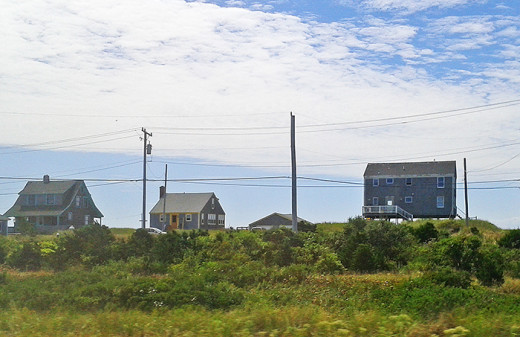 Typical Cape Cod cottages for rent along the dunes