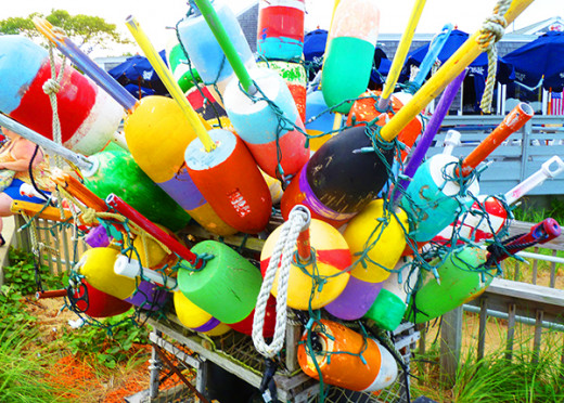 Multicolor fishing floats in Provincetown