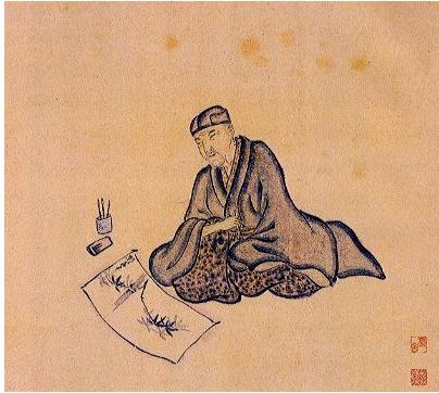 Basho writing his haiku