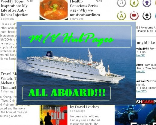 M/V HubPages - a Cruise Ship of the Future (Painted by Travel Man) (Photo used is MSC Melody)