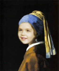 """Daisy Mariposa with a Pearl Earring"", a parody based on Jan Vermeer's ""Girl with a Pearl Earring"", created by Mohan (Docmo) Kumar"