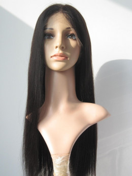 Silk Top Indian Remy Natural Straight Lace Wig