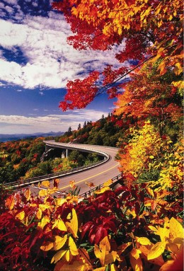 The famous Blue Ridge Parkway in the fall, one of the BEST seasons to travel this historically scenic roadway.