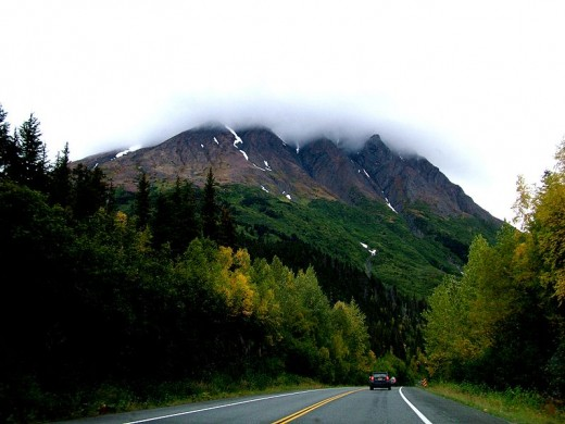 Beautiful mountains along the Seward Highway, Kenai Mountains.