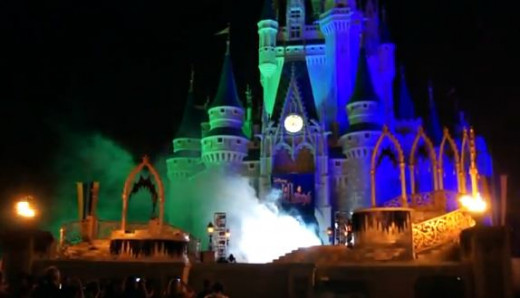 The castle looks hauntingly beautiful on Halloween.