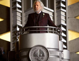 President Snow, played by Donald Sutherland, is not happy there were two victors in the Hunger Games and he's especially unhappy with Katniss. Snow fights to paint Katniss in a poor light but she still stirs up trouble in Panem. (Murray Close/Lionsga