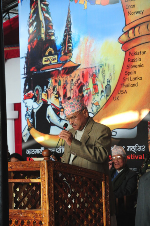 President Ram Baran Yadav inaugurating Kathmandu International Theatre Festival, in 2010
