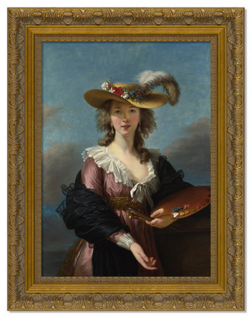 A frame with elaborate detail is acceptable for a portrait.
