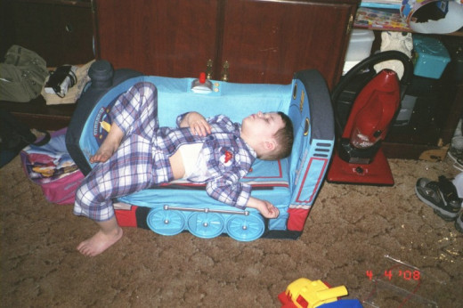 Children can sleep just about anywhere when they feel safe.