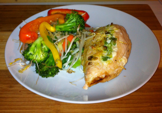 Stuffed Chicken Breast with a Veggie Stir Fry
