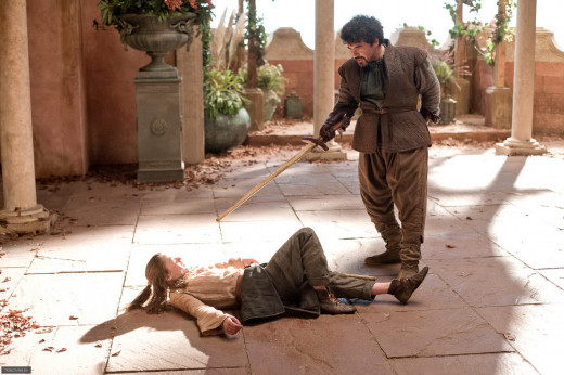 Arya learning from her dancing master, Syrio Forel.