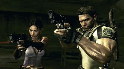 Screen shot of Chris and Sheva in Resident Evil 5