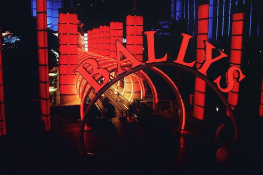 The entrance to Bally's, all lighted up at night. What would Las Vegas BE without neon lights?
