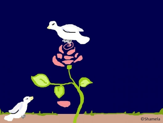 My drawing of two doves and a rose.