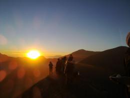 Sunrise viewed from the rim of Bromo caldera.
