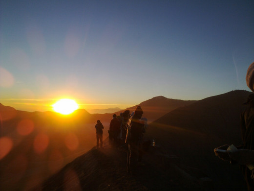 Sunrise viewed from the rim of Bromo caldera.
