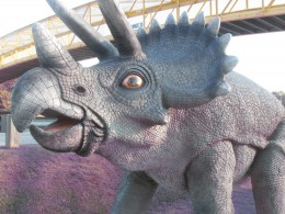Statues of dinosaurs and other animals are displayed throughout the theme park of South of the Border.