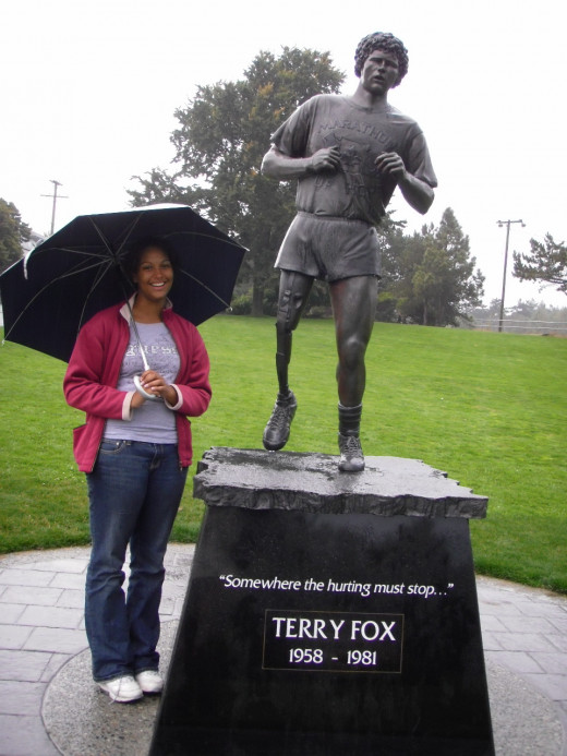 Thousands of visitors come to the Terry Fox Memorial in Victoria , BC every year, the provincial capital.  Terry Fox started his Marathon of Hope on Canada's east coast, and was running home.