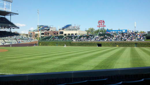 The outfield at Wrigley Field