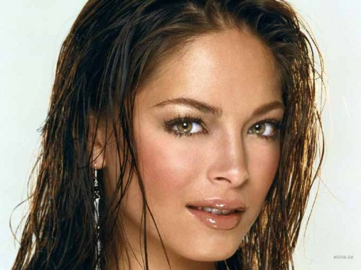 Kristin Kreuk posing with wet hair