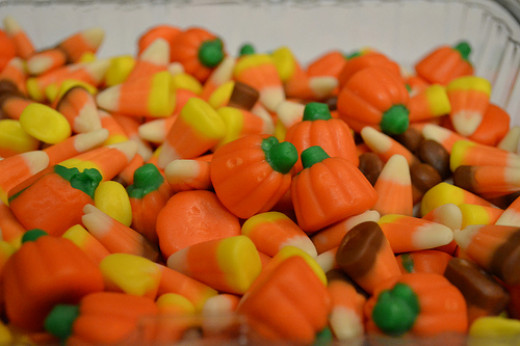 Candy corn and cream pumpkins