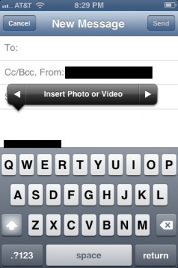 Tap the right-pointing arrow on the action menu to reveal an Insert Photo or Video option. Tap that option to open your device's Photos app.