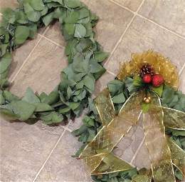 Adding embellishments to the wreaths is the fun, creative aspect of making wreaths and swags.
