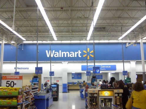 The interior of a Wal-Mart in Miami, Florida. Many Wal-Marts are becoming Supercenters with large grocery departments.