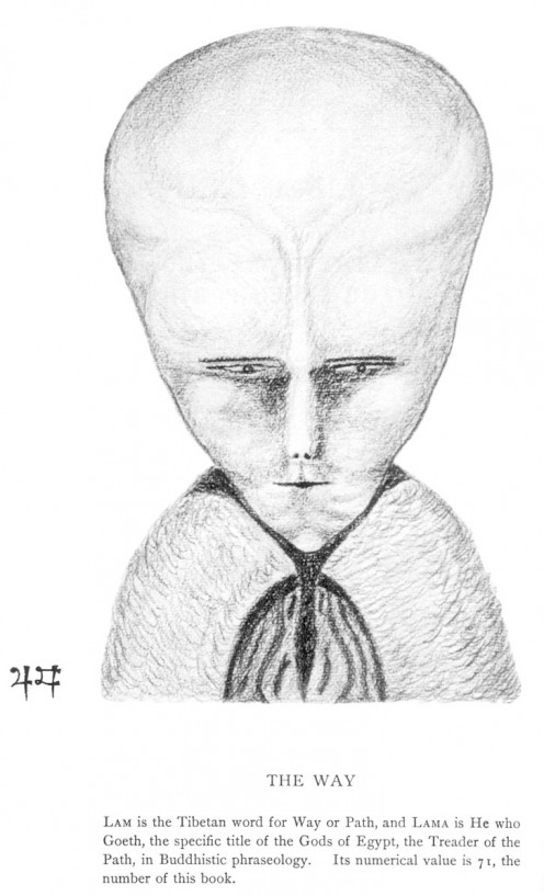 "Drawing of a demonic entity by Aleister Crowley. Notice any similarities to this and ""aliens""?"