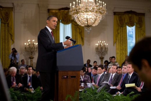 A press release is often used to announce an upcoming important event, such as a news conference. This photo is from an Obama White House press conference held 11/3/2010.