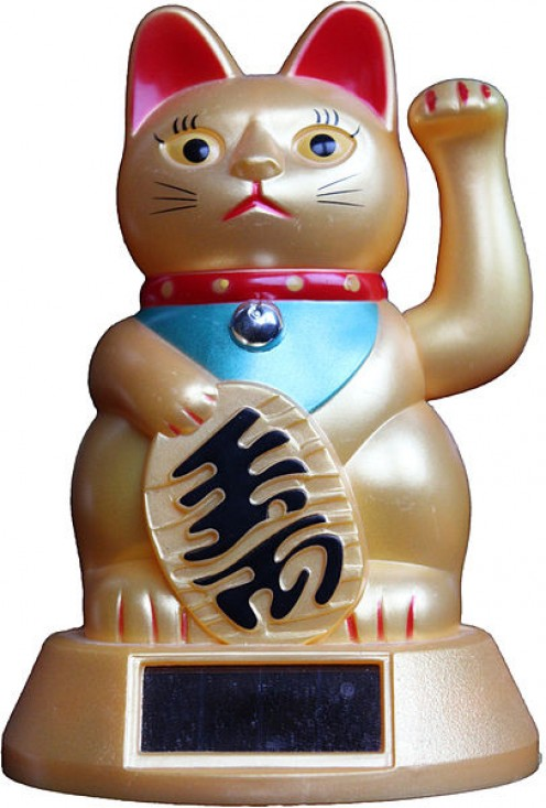 Japanese lucky money cats can help to bring good luck to your office.