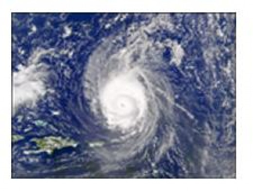 Hurricane as seen from a satellite.