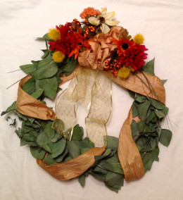 Fresh eucalyptus branches easily yield to wreath shapes, then dry quickly to make fragrant decorations.