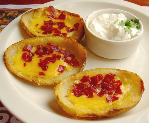Twice baked potato skins are a tasty party treat