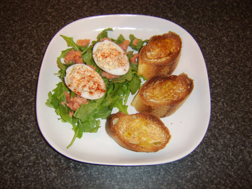 Deviled duck eggs with smoked salmon and bruschetta is just one of the recipes featured on this page