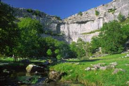Malham Cove from the beck, target for climbers of all grades - but get permission before you embark on the ropes!