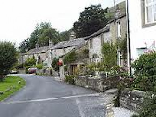 Hawkswick village behind Kilnsey on the way back to Malham