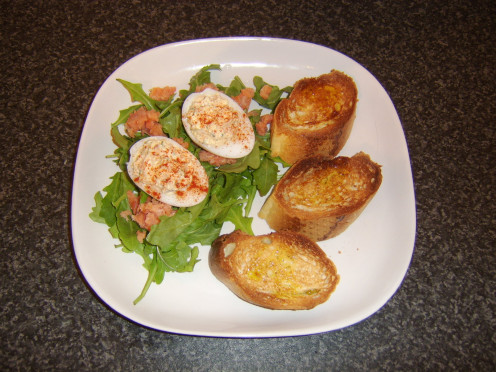 Smoked salmon is used in the deviled eggs as well as in the , all served with bruschetta