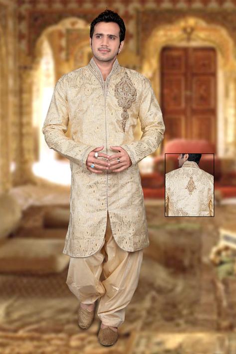 Cream Banarasi Silk Readymade Indo Western Suit