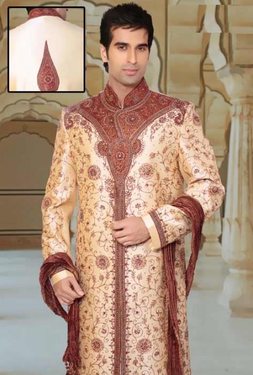 Fawn Art Silk Readymade Sherwani