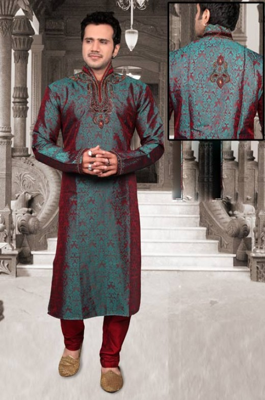 Turquoise and Maroon Banarasi Silk Readymade Kurta with Churidar