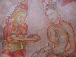 A Fresco found in Sigiriya featuring two beauties.
