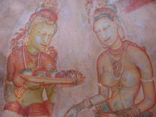 A Fresco found in Sigiriya featuring two beauties.