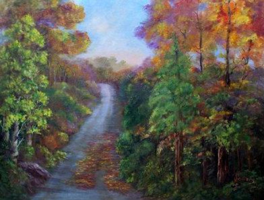 Autumn Road by Jean Powers(Muller) All paintings signed with maiden name & Family Registered Brand from WY, JPbar.