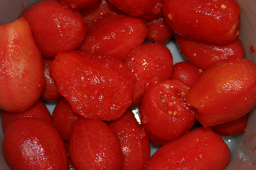 Peeled tomatoes ready to be made into sauce