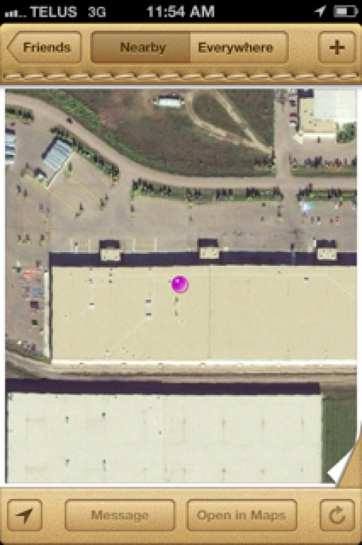 That purple dot is where my husband has gone to now in his work building