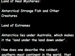 Land of Real Mysteries:  Antarctica! Strange Fish and Other Creatures
