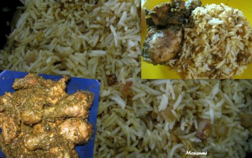 Dhania Chicken with Egg Chicken Masala Rice